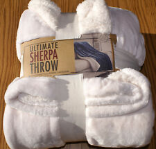BEAUTIFUL TOP QUALITY CREAM/WHITE SHERPA THROW SUPER LUXURIOUS PLUSH MICROSHERPA
