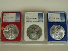 2018  American Silver Eagle  3-Coin Set  NGC Ms 70 , First Day of Issue