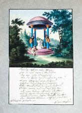 1810 Freundschaftsbild Biedermeier-Aquarell Original-Aquarell Mylius