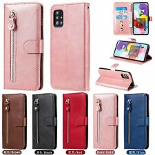 For Samsung S20 FE M31 OPPO Realme 7 C15 Zipper Leather Case Wallet Stand Cover