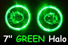 "7"" GREEN Halo Angel Eye DRL Headlights for Nisan Patrol GQ MQ Y60 Ford Maverick"