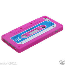 APPLE iPhone 5 5S 5C RETRO STYLE CASSETTE TAPE SILICONE SKIN COVER CASE PINK