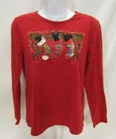 Women's Petite Medium Red Christmas Gloria Vanderbilt Long Sleeve T-Shirt