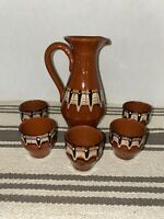 Troyan Bulgarian Pottery Feather Redware Terracotta Pitcher & 5 Cups