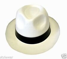 NEW ADULT WHITE GANGSTER MAFIA HAT FELT TRILBY FEDORA AL CAPONE FANCY DRESS HATS