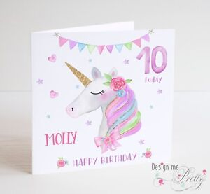 PERSONALISED UNICORN Girls Birthday Card - Name Age daughter sister