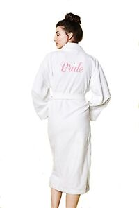 BedHead Pajamas Terry Velour Long Robe 'Bride' Embroidery - 1237-CEMB-6081