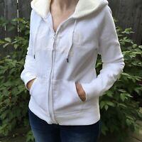 GAP Women's Ladies White Cream Full Zip Sherpa Lined Hoodie Top Jacket M Medium