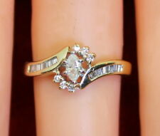 Vintage 14K Yellow Gold .40 Ct TW Marquise, Baguette & RB Diamond Ring, Size 6