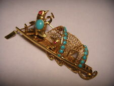 Gorgeous Designer 14K Yellow Gold Ruby Turquoise Lovebirds Boat Brooch Pin