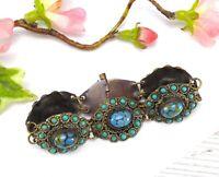 Vintage Blue Czech Peking Glass & Faux Turquoise Panel Bracelet