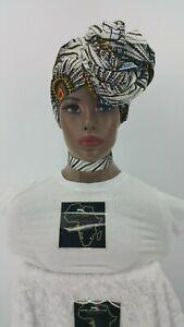 Mulunga Ethnic Kente Ankara Wax Headwrap Feathers Trim Choker Necklace Set 2Pcs