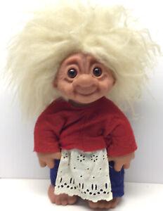 "Original Thomas Dam 1977 Troll Doll Grandma With Clothes 14"" Poseable Brown Eyes"