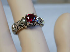 1ct red ruby antique 925 sterling silver scroll ring size 9.5 USA made