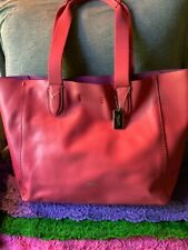Coach Derby Pink Dusty Rose Pebble Grain Smooth Leather Snap Tote & Shopper