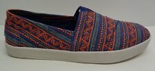 Toms Size 10.5 AVALON Blue Orange Zig Zag Canvas Fashion Sneakers New Mens Shoes