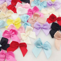 50pcs Mini Silk Satin Ribbon Bow Appliques Wedding Sewing Craft DIY Gift Decor