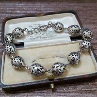 "Vintage 925 Sterling Silver Bracelet, Balinese Teardrop, Tennis Bracelet, 8.5"""