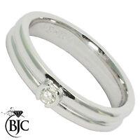 Bjc 18Ct Oro Blanco Diamante 0.10ct TALLA M Anillo Solitario de Compromiso R89