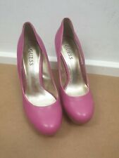 Guess Hot Pink Round Toe Wood Effect Cone Heels Platform Shoes Size 4.5 UK