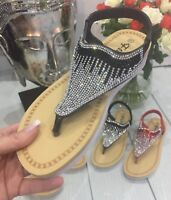 WOMENS LADIES UK NEW DIAMANTE RED BLACK FLAT SANDAL  SUMMER HOLIDAY BEACH SIZE