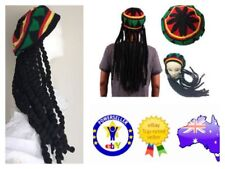 Bob Marley Costume Dress Rasta Reggae Beanie Hat With Dreadlocks Wig Jamaican