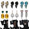 Elegant Rhinestone Earrings Drop Women Crystal Dangle Stud Ear Tassel Jewelry