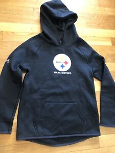 Under Armour Steelers Hoodie YMD Youth Medium Combine Authentic Black Nwot