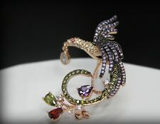 18k Rose Gold Brooch made w/ Swarovski Crystal Multicolor Stone Bird Brooch Pin