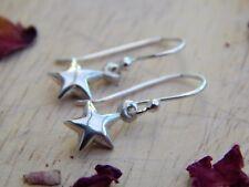 sterling silver star earrings - dangly star earrings