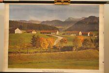 Schulwandkarte Rollkarte Lehrtafel Allgäuer Bauernhöfe bei Oberstaufen Berge