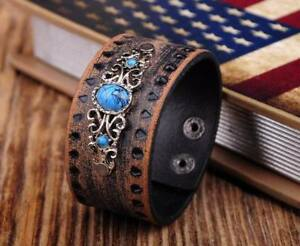 Retro Quality Cowhide Flower Turquoise Wide Wrap Leather Bracelet Cuff Wristband