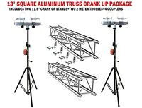 Two 11.6' Crank Up Stands With Two 6.56' Square Aluminum Truss Segments Package