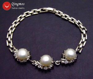 Fashion 9-10mm Flat Round White Natural Pearl Bracelet for Women 8'' bra343
