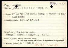 USA 1943 Pacific Japan Fukuoka POW Camp Wake Island Red Cross Card 89243