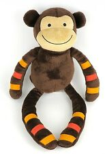 Lambs & Ivy Momo Monkey Brown Orange Stripes Arms/Legs Plush Stuffed Lovey 15""
