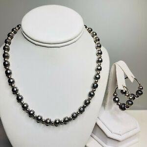 Carolyn Pollack Relios 925 Sterling Silver Stamp Beaded Necklace & Hoop Earrings