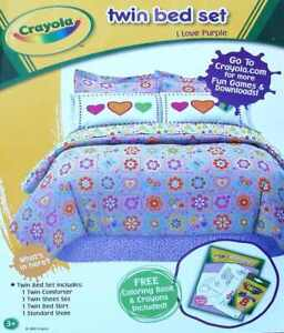 CRAYOLA I LOVE PURPLE HEARTS BUTTERFLIES TWIN COMFORTER SHEETS 6PC BEDDING NEW
