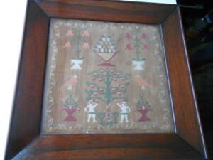 ANTIQUE EARLY SAMPLER NEEDLEWORK EMBROIDERY IN SUPER MAHOGANY FRAME