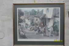 Print of a Painting by E.W. Sturgeon. View of Coastal Village. Signed.