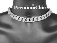 "ICED Hip Hop Men Quavo Silver PT 14mm 16"",18"" Miami Cuban Choker Chain Necklace"