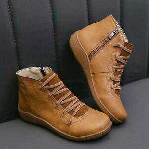 Womens Flat Wedge Heel Booties Zip Up Winter Warm Ankle Boots Ladies Work Shoes