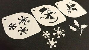 #4.2 Set of 3pcs Xmas Stencils Snowman Snowflakes Christmas Mistletoe Decoration