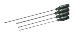 SK Hand Tools 86334 4pc CushionGrip® Extra Long Screwdriver Set