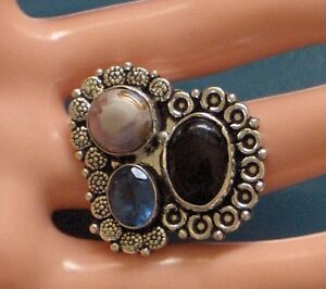 SIZE 7.5 NATURAL RIVER PEARL, ONYX LONDON BLUE TOPAZ 925SILVER PLATED RING,LUX!