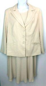 Randolph Duke The Look Womens Beige Sleeveless Dress & Blazer Size 22/24 NWT