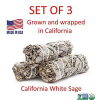 "White Sage Smudge Stick 4"" SET OF 3 Bundle (House Cleansing Energy Clearing)"