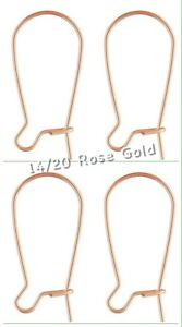 14k Rose Gold Filled Ear Wires Kidney Ear Hooks Posts Earwire Rose Gold 2 Pairs