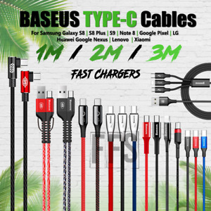 Type-C Cable USBC Charger Baseus 3ft 6f 10ft Braid lot Android For Samsung Phone
