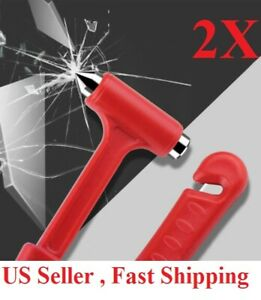 2pc Car Safety Escape Glass Window Breaker Emergency Hammer Seat Belt Cutter Too